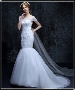 Vintage Pure White Mermaid Wedding Dress - DressMaid Store