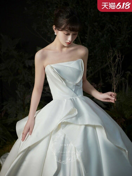 Sleeveless Off-Shoulder Long Length Wedding Dress - DressMaid Store