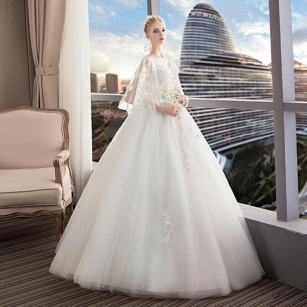 European New Style Lace V Neck Puffy Sleeve Wedding Dress