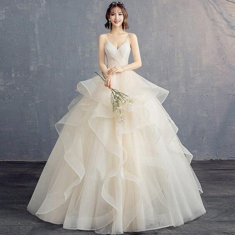 New Puffy Organza Floor Length Plus Size Deep V Neck Ruffle Wedding Gown - DressMaid Store