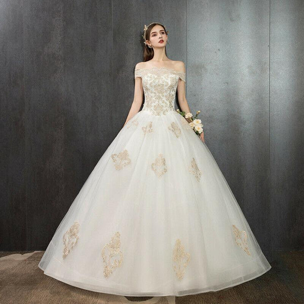 Off Shoulder Gold Lace Floor length Lace up Back Plus Size Wedding Dress - DressMaid Store