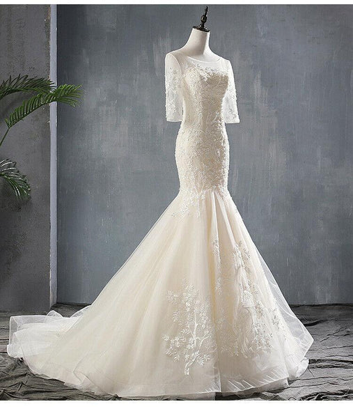 Sexy Half Sleeves Mermaid Wedding Dress Backless Tulle Round Neck Bridal Gown - DressMaid Store