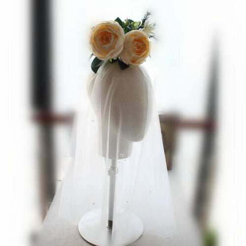 Thicken Soft Tulle Fingertip Pearls Ivory Wedding Bridal Veil - DressMaid Store