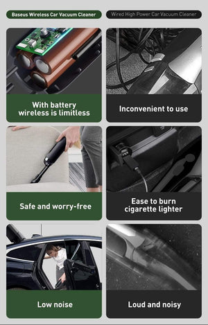Wow Gadget Shop Baseus Portable Car Vacuum Cleaner Wireless 5000Pa Rechargeable Handheld Mini Auto Cordless Vacuum Cleaner for Car Vacum Vaccum