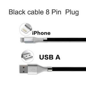 Wow Gadget Shop Black Lighting Plug / 0.9m Super Calla Self Winding USB Magnetic Absorption Magic Fast Charging Data Cable Neatest Durable Charging Cable For Apple IPhone