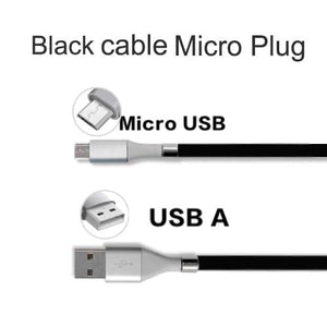 Wow Gadget Shop Black Micro plug / 0.9m Super Calla Self Winding USB Magnetic Absorption Magic Fast Charging Data Cable Neatest Durable Charging Cable For Apple IPhone