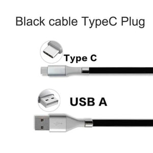 Wow Gadget Shop Black TypeC Plug / 0.9m Super Calla Self Winding USB Magnetic Absorption Magic Fast Charging Data Cable Neatest Durable Charging Cable For Apple IPhone