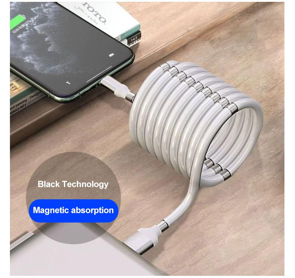 Wow Gadget Shop Super Calla Self Winding USB Magnetic Absorption Magic Fast Charging Data Cable Neatest Durable Charging Cable For Apple IPhone