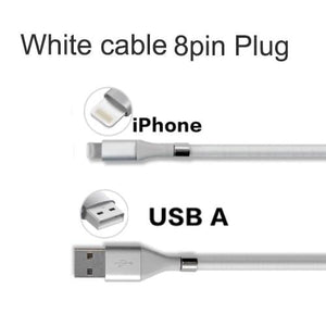 Wow Gadget Shop White 8Pin Plug / 0.9m Super Calla Self Winding USB Magnetic Absorption Magic Fast Charging Data Cable Neatest Durable Charging Cable For Apple IPhone