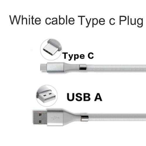 Wow Gadget Shop White TypeC Plug / 0.9m Super Calla Self Winding USB Magnetic Absorption Magic Fast Charging Data Cable Neatest Durable Charging Cable For Apple IPhone