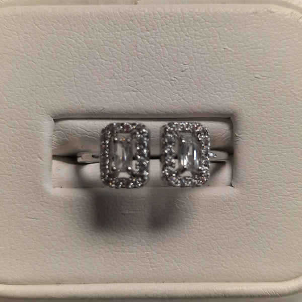 Silver Adjustable Ring With 2 Rectangles of Cubic Zirconia .925