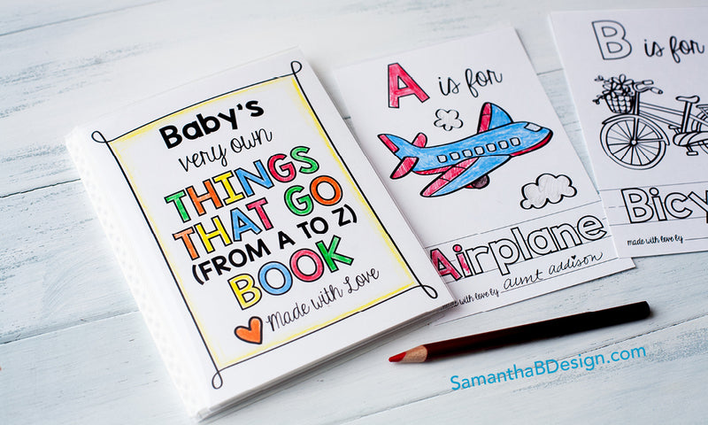 ABC Book Baby Shower Activity for the Trains, Trucks, and Transportation Lovers PLUS Bring a Book Insert Card Free Printable