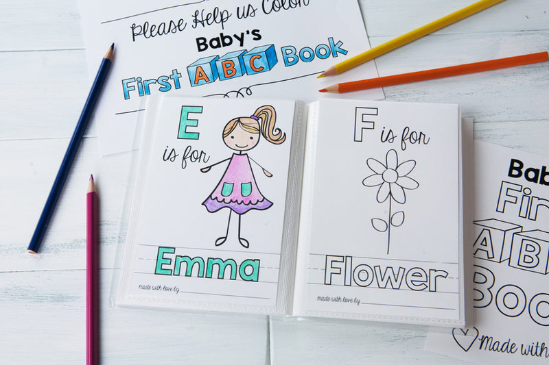 ABC Book Template for a Baby Shower Activity