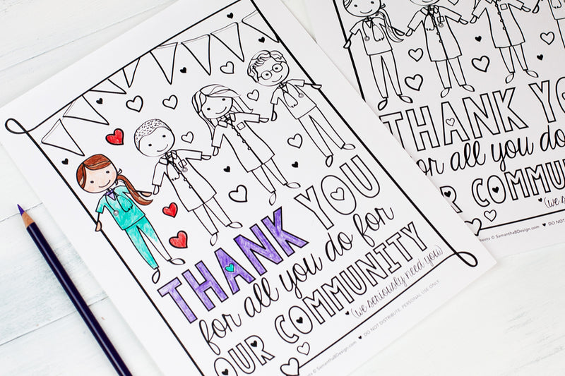 Free Download | Thank You Appreciation Coloring Sheet for Nurses, Doctors, and Medical Staff