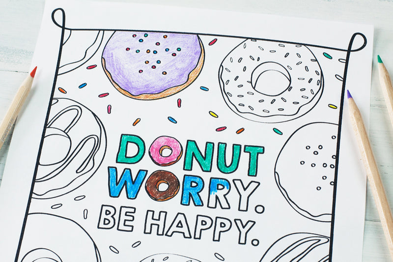 Free Download | Donut Worry Be Happy Coloring Sheet & Donut Birthday Party Favors
