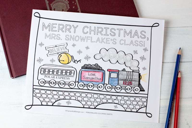 Personalized Holiday Coloring Sheets for a Class Party