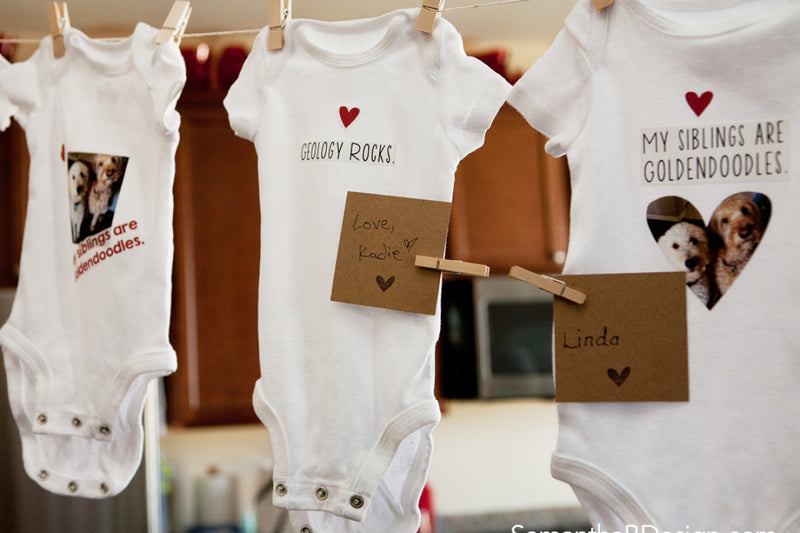 Personalized Iron-on Fabric Onesie Station for a Baby Shower Activity