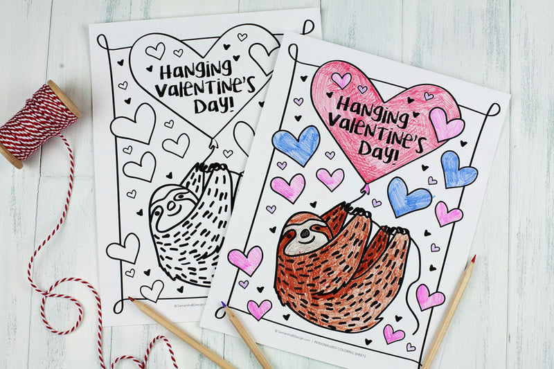 Free Download | Sloth Valentine's Day Coloring Sheet |Great class party idea!