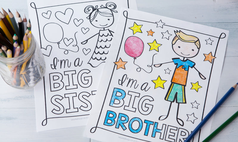 Free Download | Big Sister and Big Brother New Baby Coloring Sheets