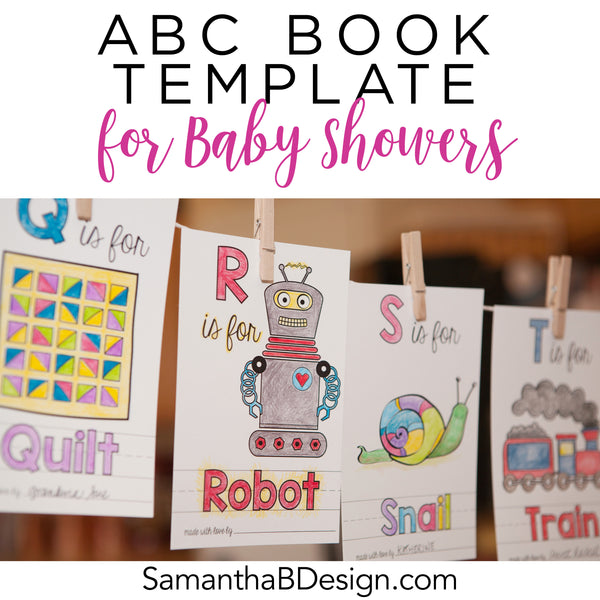 ABC Book Template For A Baby Shower Activity – Samantha B Design