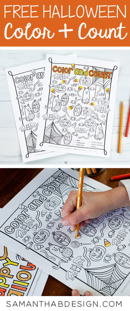 Free Halloween Color and Count Activity Sheet