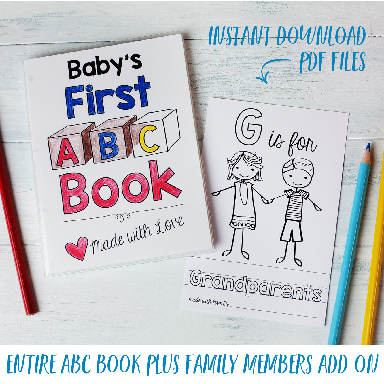 ABC Book Printable PDF Download with Family Pack   20.20x20