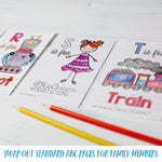 "ABC Book Printable PDF Download with Family Pack | 5x7"" Final Size"