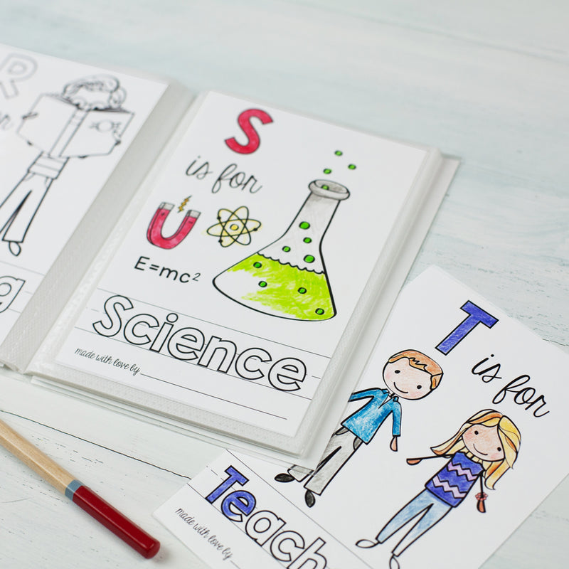 "School Theme ABC Book Printable PDF Download | 5x7"" Final Size"