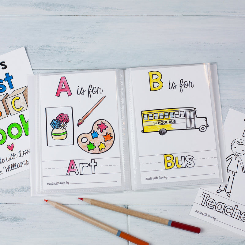 "School Theme ABC Book Printable PDF Download | 8.5x11"" Final Size"