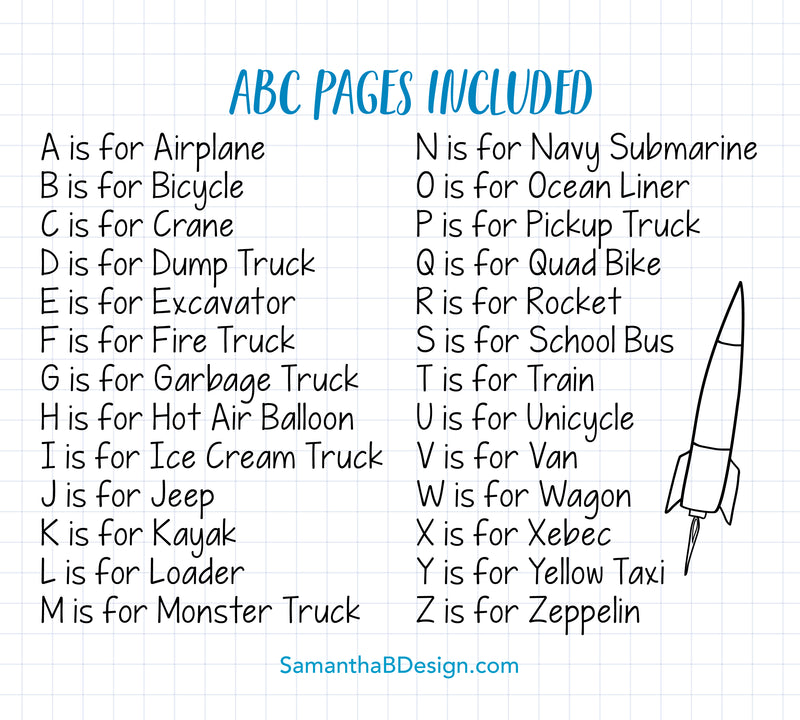 ABC Book Transportation Things that Go - Printed | 5x7""