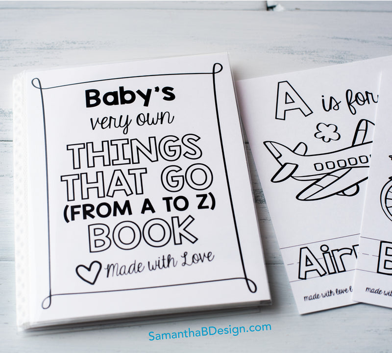 "ABC Book Transportation Things that Go - Printable PDF Download | 5x7"" Final Size"