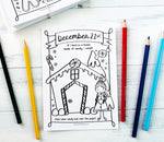Christmas Coloring Countdown and Keepsake, Advent Calendar, Kid's Personalized Journal