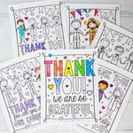"Community Helper & First Responders Thank You Coloring Sheets | PDF Download | Set of Six 8.5x11"" Final Size"