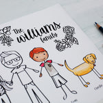 Custom Family Portrait Illustrated Coloring Sheet | Personalized Family Drawing | PDF Download