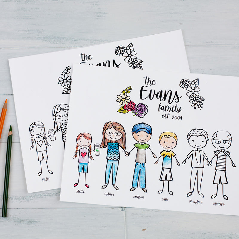 - Custom Family Portrait Illustrated Coloring Sheet Personalized Famil –  Samantha B Design