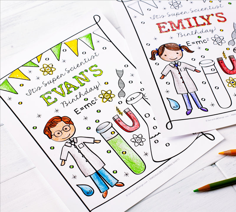 Super Scientist Personalized Birthday Party Boy and Girl Coloring Sheet Activity