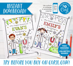 Super Science Birthday Party Printable Coloring Sheet Designs (Personalized!)