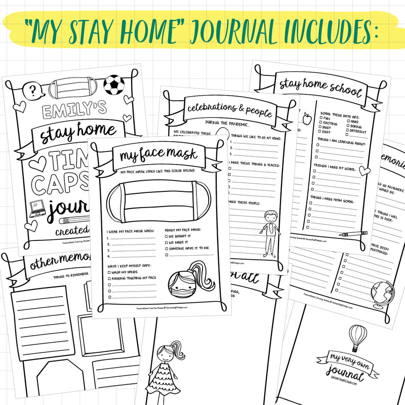 "Kid's Quarantine Journal + All About Me Journal Bundle | PDF Download | 8.5x11"" Final Size"