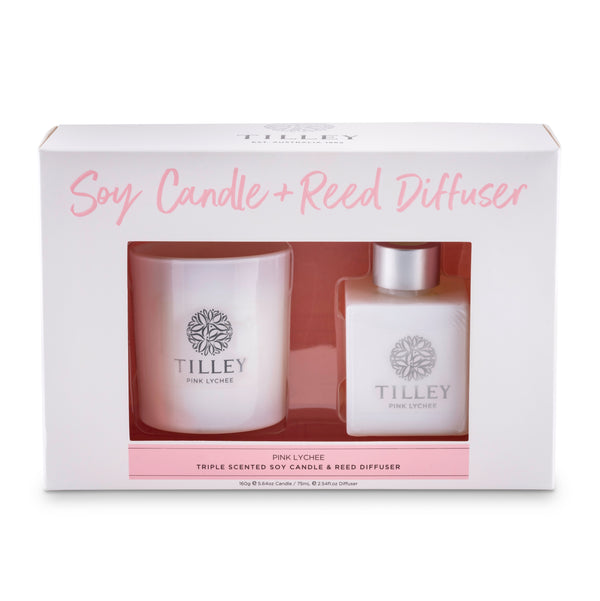 Pink Lychee 160g Candle & 75mL Reed Diffuser Gift Pack