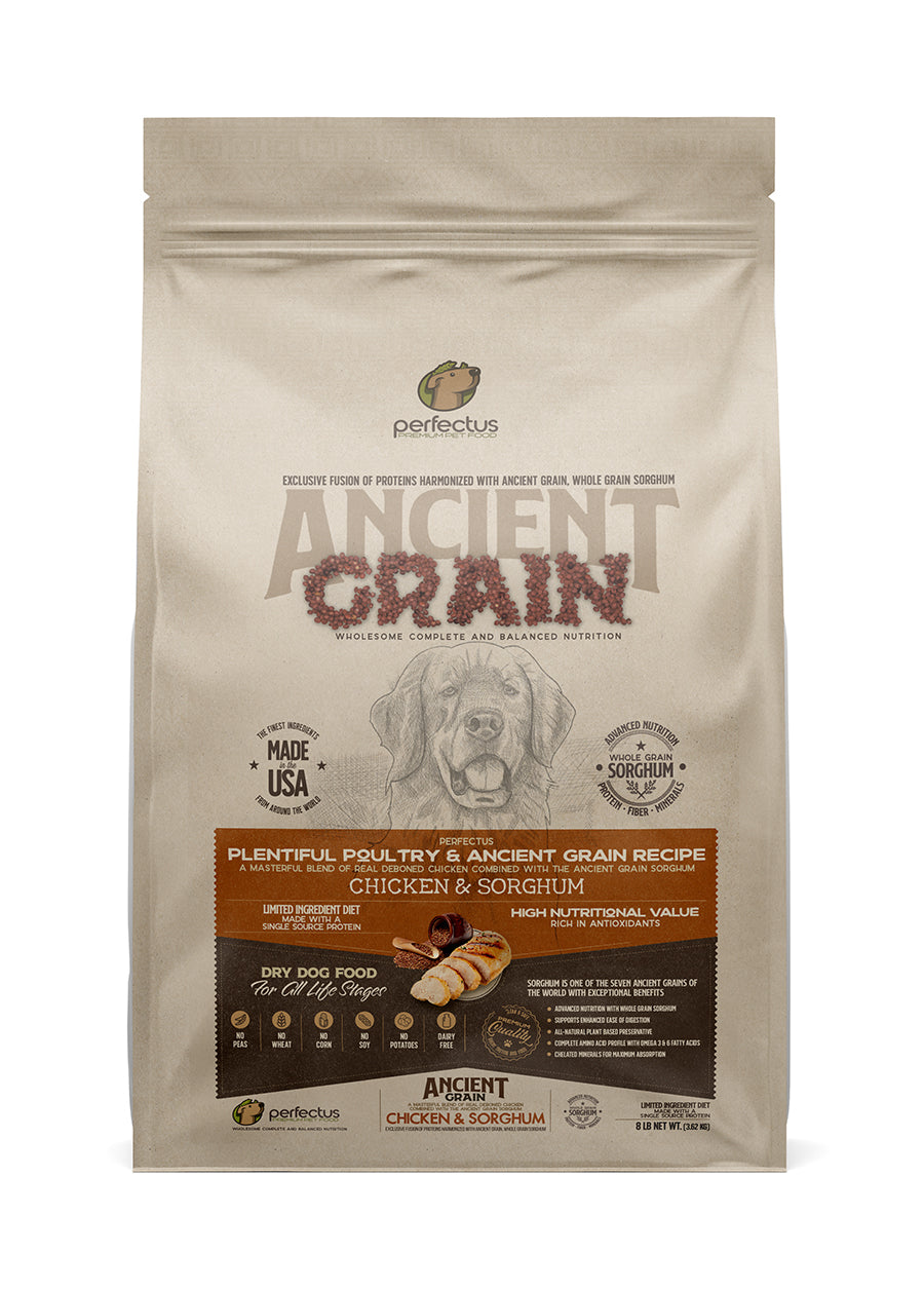 Perfectus Pet Food Ancient Grain Chicken Dog Food bag