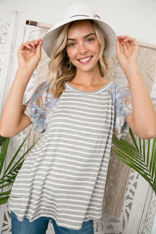 Stripe Floral Mix Flare Sleeve Top