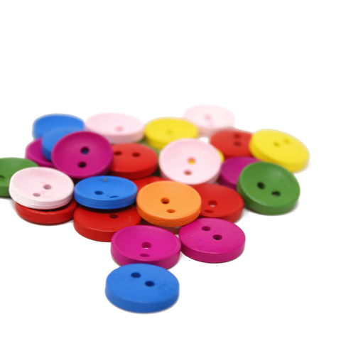 Buttons: Wood 2 Hole Matte Rainbow 15mm