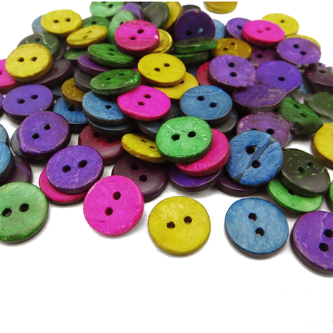 Buttons Round Coconut 2 Holes Dyed