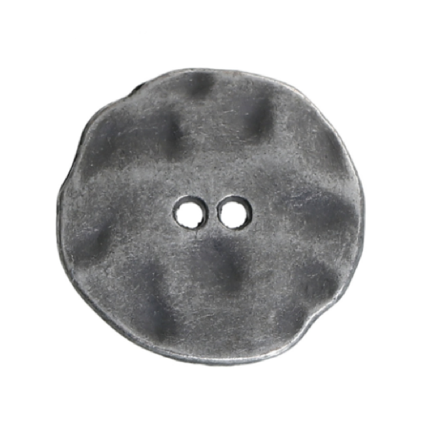 Buttons: Metal Round 2 Holes Brushed Silver Irregular 30mm