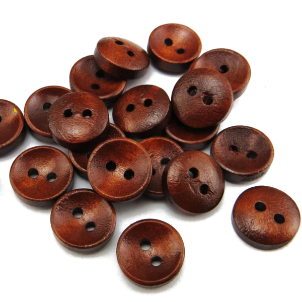 Buttons Wood Round 2 Holes Dark Brown 20mm