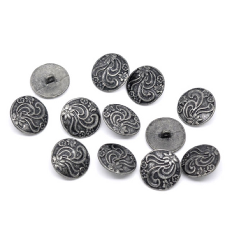 Buttons: Metal Round Shank Pewter Floral 20mm
