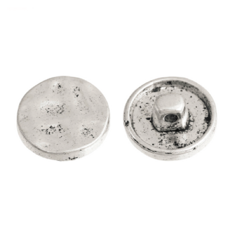 Buttons: Metal Round Shank Textured Silver 16mm