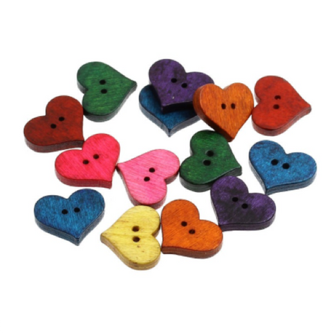 Buttons: Wood Heart 2 Holes Coloured 20mm x 16.5mm