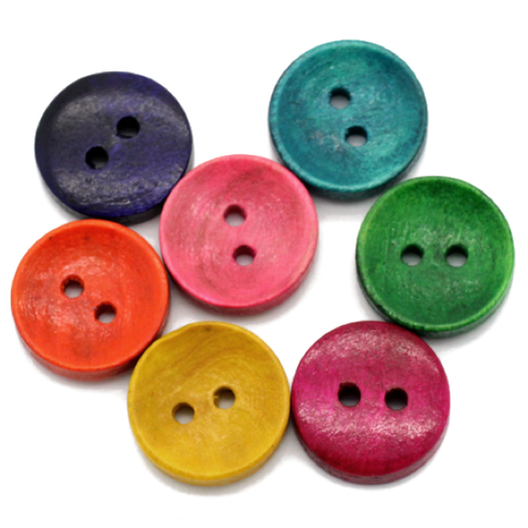 Buttons: Wood 2 Hole Rainbow 15mm