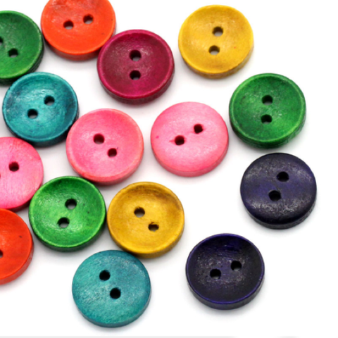 Buttons Wood 2 Hole Rainbow 15mm